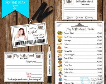 Restaurant Pretend Play Set - Restaurant Printable for Kids - Children Pretend Restaurant - Restaurant Pretend Play *Digital File*