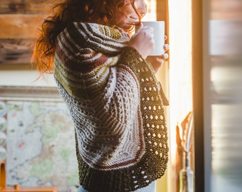 Hudson Triangular Shawl PDF Knitting Pattern Chunky Striped Textured Wrap