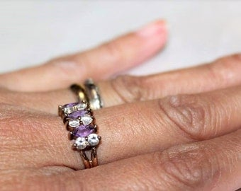 SALE! Vintage Sterling Silver Amethyst Cubic Zirconia Dazzling Exquisite Ring Sz 7 RG1