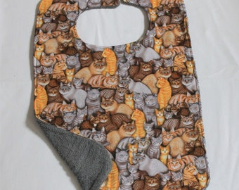 Adult Bib/Clothing Protector  -  Reversible - Cotton and Terry Cloth - Bib with Cats  - Gray/Grey -Unisex