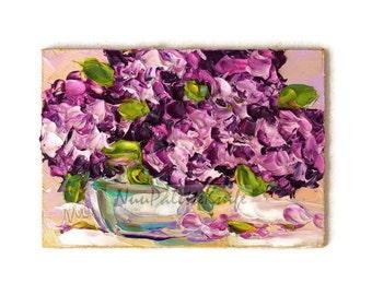 Hydrangea Art Original ACEO Oil Painting Purple Flower Abstract Flower Mini Tiny Painting Palette Knife Textured Impasto Flower