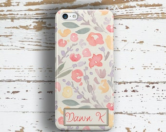 Monogammed iPhone case, Floral iPhone 6 Plus case, Pretty iPhone 6s case, Coral outfit accessory, Unique gift for women  (1756)