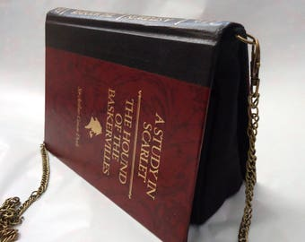 A Study in Scarlet Hound of the Baskervilles Sherlock Holmes Book Purse Red Bag Clutch - Upcycled Book
