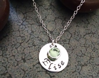Girls Jewelry Personalized Teen Gift Hand Stamped Metal Jewelry Necklace with Swarvoski Crystal Friend Birthday Gift