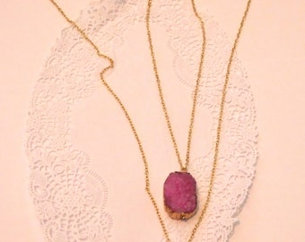 Pink and Gold Geode Mommy-Daughter Necklaces
