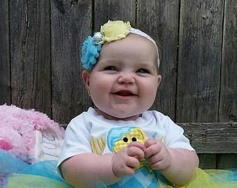 Light Yellow and Aqua Baby Headband, Infant Headband, Newborn Headband, Girls Headband, Light Yellow and Aqua Blue Shabby Chic Headband