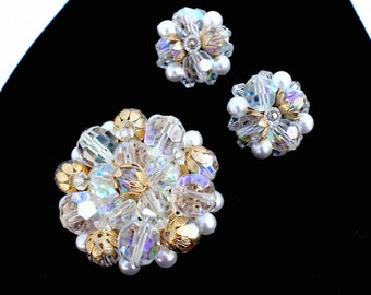 Clear Rhinestone Brooch & Clip On Earrings Demi Parure Set ~ Vintage AB Cluster Pin and Clip Ons