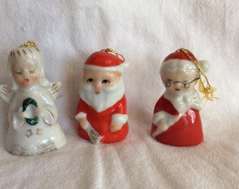 Vintage Miniature Christmas Santa Bell Ornaments with Angel