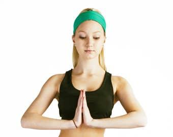 Elastic Hairband Gym Hair Bandana Green Knotted Headband Stretch Bow Women's Hair Accessories Yoga Hairbands