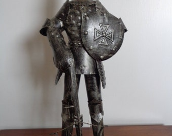 Vintage Mid Century Knight in Armor with Crossbow, Medieval Knight.