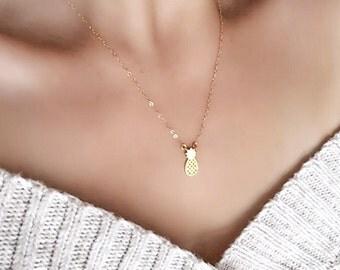 Hala kahiki necklace - gold pineapple necklace, pineapple pendant necklace, pineapple charm necklace, hawaii jewelry, hawaii necklace, maui