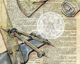 PRINT:  Architect Mixed Media Drawing on Antique Dictionary Page