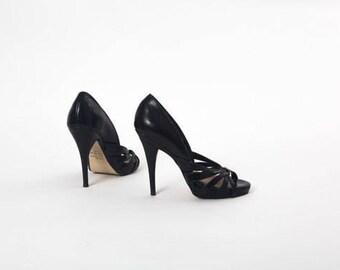 80s Classic Black STILETTO PUMPS Vegan Vintage BAKERS Woman Shoe Size 5B Platform High Heels Knotted straps club Stilettos Party Dress Shoes