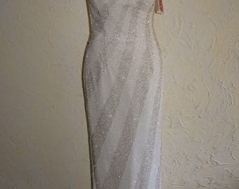 MIA BELLA Heavily Beaded White And Silver Grecian Style Ball Evening Gown Size 5