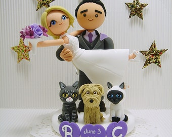 Honeymoon Jitters with 3 pets Custom wedding cake topper