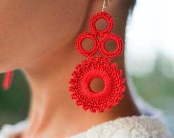 Red earrings, Gift idea for women, crochet statement earrings, gift under 15, Christmas gift for her, women's chandelier earrings, colors