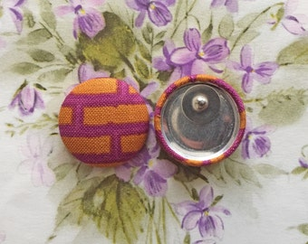 Fabric Button Earrings / Geometric / Rust and Magenta / Gifts for Her / Wholesale Jewelry / Handmade in NYC / Stud Earrings / Bulk