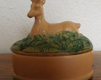 Vintage Ceramic Covered Lidded Deer Dish Pottery