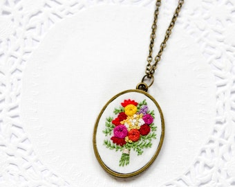 Hand Embroidered Bouquet Necklace | Embroidered Flower Pendant Necklace | Bright Floral Embroidered Jewelry | Bride Bridesmaid Necklace