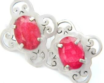 Ruby Sterling Silver Earrings Vintage July Birth Red Gemstone Jewelry For Women 925 Ethnic Tribal Boho Scroll Design Pierced Earrings