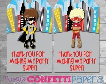 Super Hero Favor Tags, Super Hero, Super Hero Boy, Favor Tags, Boy, Thank You Tags, Marvel Comics, Gotham City, INSTANT DOWNLOAD, Printable
