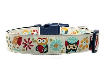 "Owl Dog Collar 1"" Navy Blue Dog Collar"