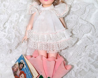 """1980s Effanbee """"Storybook"""" Doll - Thumbelina - Plastic - Vinyl  - Original Hang Tag - 11 Inch - Missing Hat Only"""
