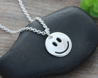 925 Sterling Silver Happy Face Necklace, Sterling silver Smiley Face Necklace, Happy Face, Smiley Face Jewelry