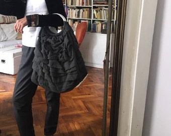 Comme des garcons bag / ruffled avant garde wool large bag/ mettal handles grey/ designer