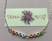 Harm None Letters Pastel Necklace - Beaded, Silver, Cute, Wicca