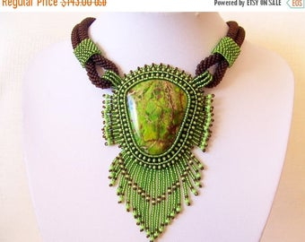 15% SALE Bead Embroidery Necklace Pendant Beadwork with Green Sea Sediment Jasper  - Statement necklace - GREEN EARTH - green - brown
