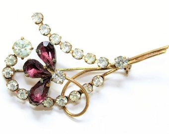 Sparkly Purple & Clear Rhinestone Diamante Flower Brooch (c1950s) - Wedding