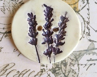 Handmade Ceramic Button With A Lavender Design