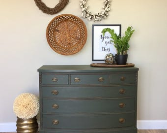 Green Chest of Drawers, Fixer Upper Furniture, Six Drawer Dresser, Federal Style Furniture, Double Dresser, Mahogany Dresser