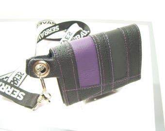 Black Purple wallet, Bifold wallet for chain, Wallet with transparent window ID, cards Holder with ID slot, Wallet for work, Wallet Student