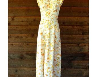 Vintage Homemade Yellow & Orange Floral dress, size XS-S