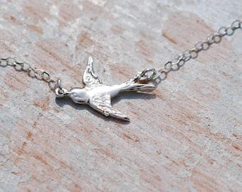 Silver bird. Sterling silver bird necklace, bird in flight necklace, linked bird necklace, bird necklace, gift