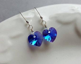 Periwinkle Swarovski Crystal Heart Earrings, Dangle Heart Earrings, Purple Crystal Heart Earrings, Purple Heart Earrings, Sterling Silver