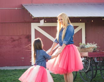 Coral Burlap and Lace Mommy & Me Tulle Tutu Skirt. Weddings Family Photos