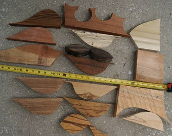 Wood Scrap Pieces, Woodworking, Jewelry Hardwood, Jewelry Supplies, Pen Blanks, Macassar Ebony, Cocobolo, Spalted Tamarind, Marblewood and