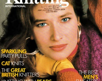 3 Issues Retro 80's Vogue Knitting International Magazine  Out-of-Print Designer Knit Patterns & Instructions Knitting Supply Fiber Arts
