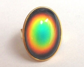 Mood Ring 24k Gold Plated Sterling Silver 925 - 25x18 Quality Mood Stone big large