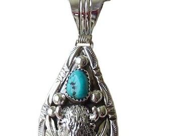 Buffalo Jewelry, Buffalo Jewelry with Turquoise, Buffalo Jewelry with Authentic Turquoise, Sterling Silver Buffalo Jewelry with Turquoise