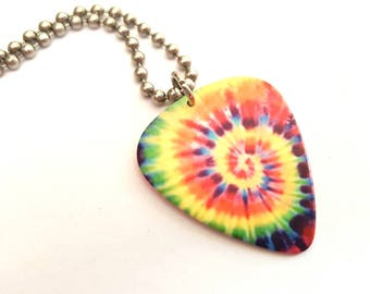 Tye Dye Guitar Pick Necklace with Stainless Steel Ball Chain - hippie - concert accessory