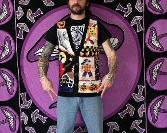 Vintage Witch Scarecrow Halloween Sweater Vest. Spooky Cute And Kitschy Halloween Sleeveless Cardigan With Ghosts Spiders Pumpkins.