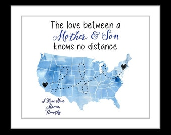 Mothers day gift from son daughter, gift for mom, personalized long distance gifts, map, birthday gift, going away gift, mother sons quote