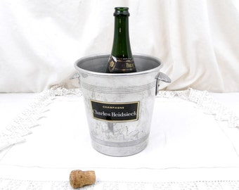 Vintage French Mid Century Metal Champagne Ice Bucket / Cooler Charles Heidsieck with 2 Handles, Chic Decor, Celebration, Chateau, Drinks