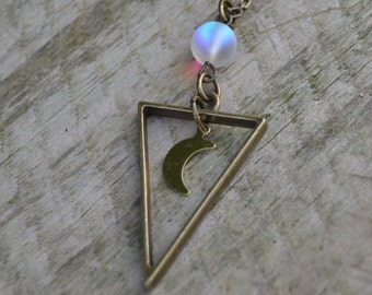 Boho layering necklace, crescent moon necklace, brass triangle necklace, geometric moon necklace iridescent