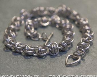 Silver Barrel Weave Chain Maille Choker/Bracelet