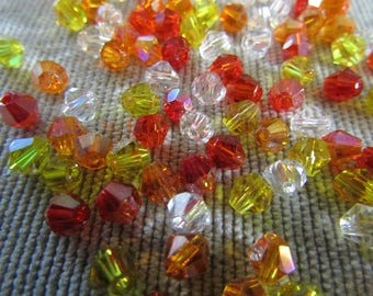 4mm Sunset Mix Bicones (100) - Mixed Color -  Glass - Austrian Crystals